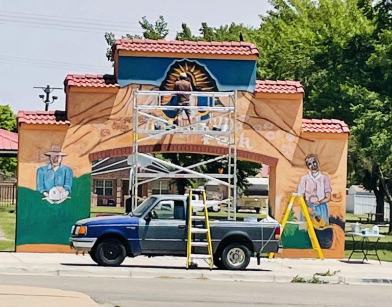 Guadalupe Park Mural Progress